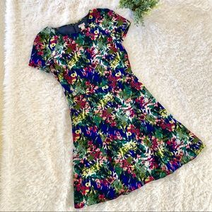J. Crew floral fit and flare dress size 2 Like new